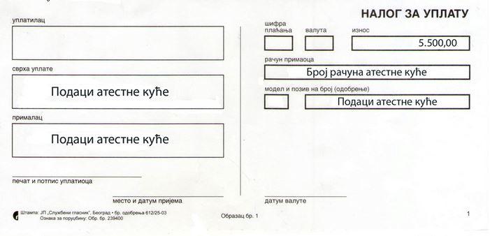 Uplatnica za pregled vozila, atest